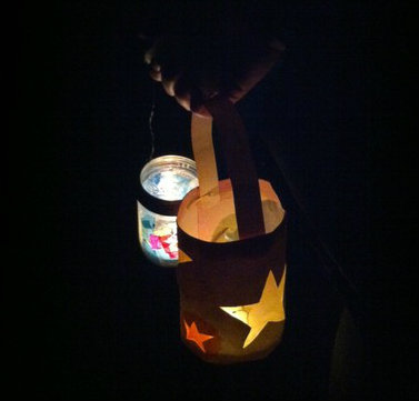 holding lanterns