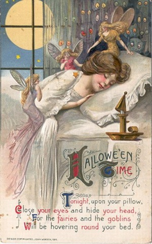 vintage-halloween-woman-fairies-postcard 2